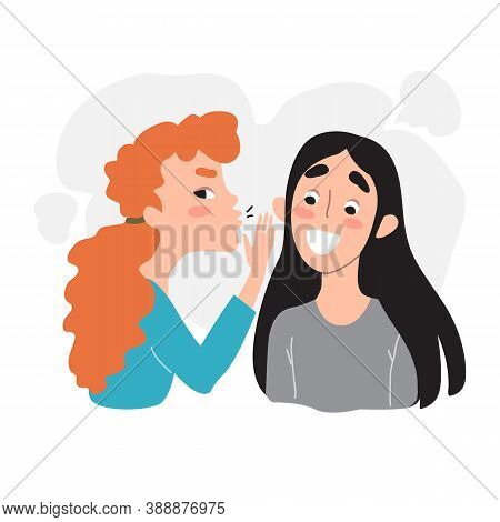 Female Friendship, Gossip And Secrets - Portrait Of Two Happy Young Girl Whispering