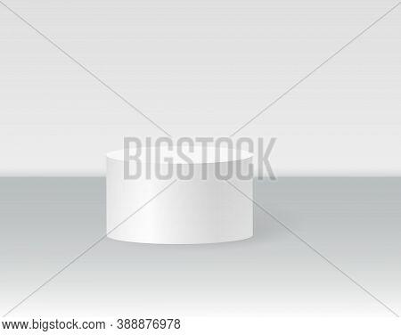Single Cylinder Podium Scene, Winner Pedestal. White Cylinder Template For Showroom Podium Scene. Ve