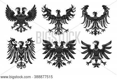 Vintage Heraldic Royal Eagles Flat Badge Set. Monochrome Medieval Retro Heraldry Design Isolated On