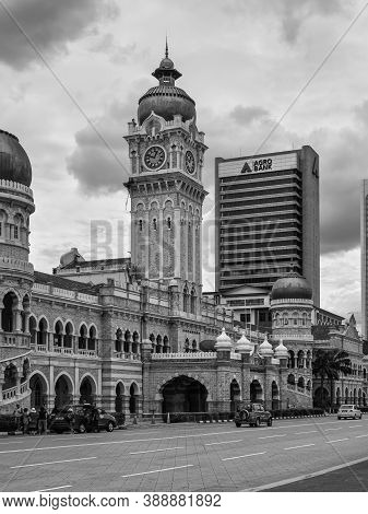 Kuala Lumpur, Malaysia - December 2, 2020: The Clock Tower Of The Sultan Abdul Samad Building In Fro