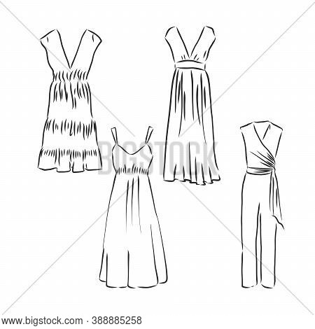Hand Drawn Vector Clothing Set. Dresses Isolated On White. Summer Dress, Vector Sketch Illustration