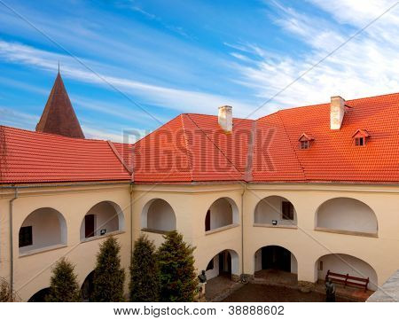 Old castle with red tiled roof in nice day