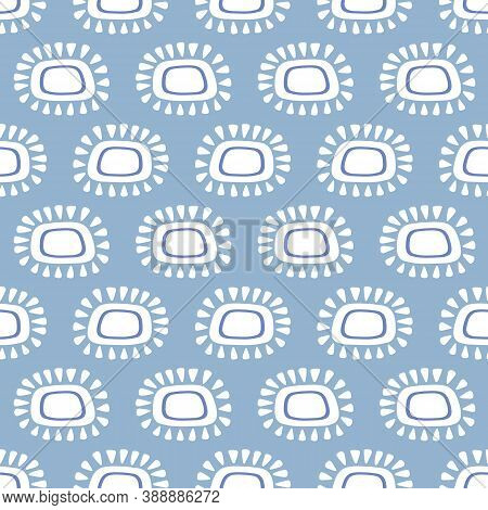 Abstract Sun Pattern Design. Cute Vector Seamless Repeat Illustration Of Sunshine Motifs In Blue And