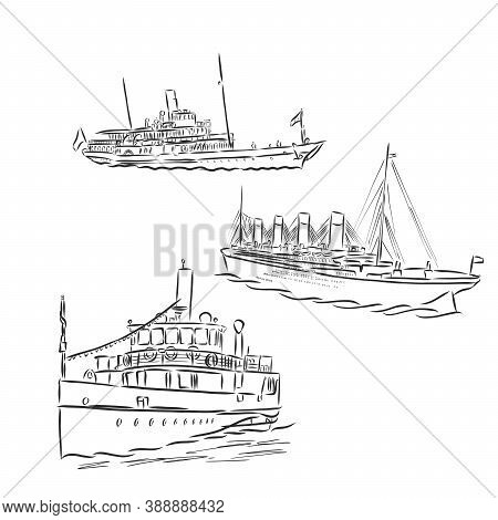 Ship, Steamboat, Steamship, Doodle Style, Sketch Illustration, Hand Drawn, Vector. Steamship, Vector