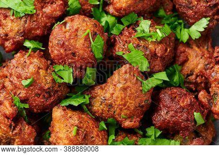 Veg Pakora Close Up. Pakoda Is Indian Cuisine Appetizer Deep Fried Dish. Asian Food And Meal