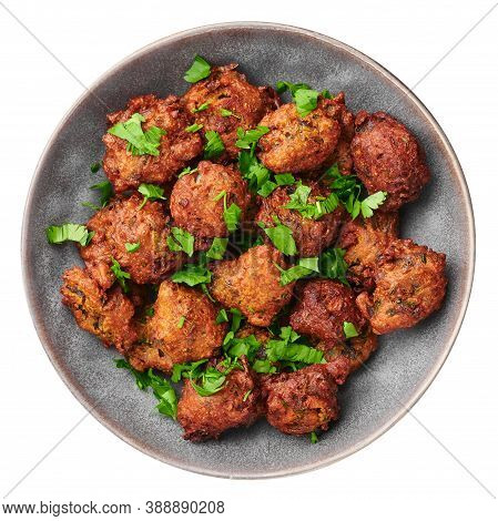 Veg Pakora In Gray Bowl Isolated On White. Pakoda Is Indian Cuisine Appetizer Deep Fried Dish. Asian
