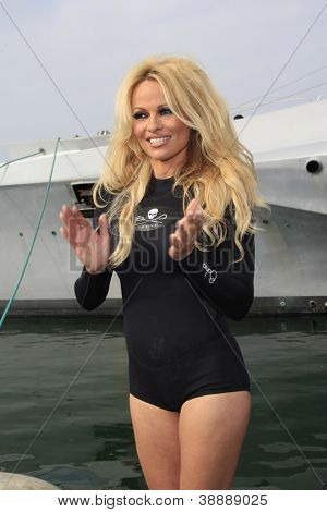 LOS ANGELES - NOV 2: Pamela Anderson at the Sea Shepard's Operation Zero Tolerance Antarctic whale defense campaign press conference launch at Fisherman's Village on November 2, 2012 in Los Angeles,CA