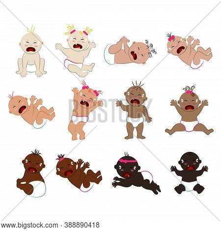 Vector Collection Of Multinational Crying Naked Babies In Diapers. Many Sad Toddlers With Different