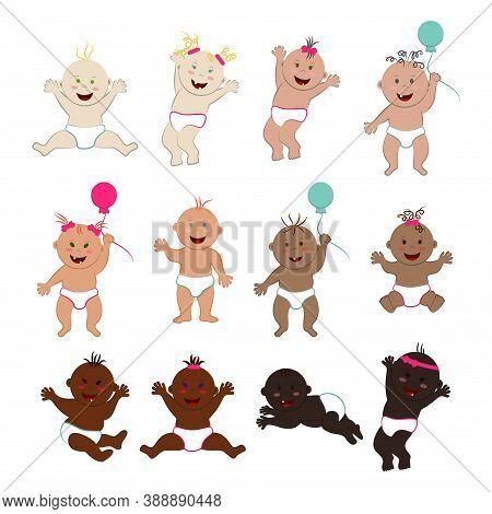 Vector Set Of Laughing And Having Fun Multinational Babies Isolated On White Background. Lots Of Fun