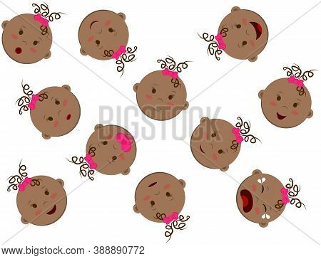 Abstract Vector Texture With Many Round Heads Of Swarthy Curly Girl. Baby Faces With Different Moods