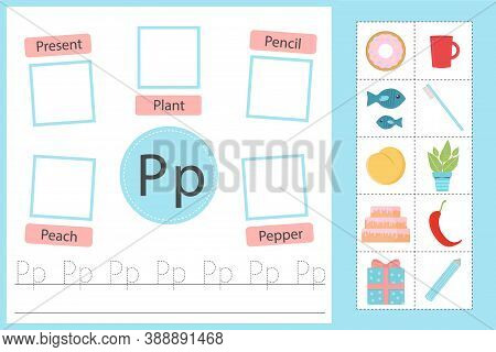 Alphabet Tracing Worksheet For Preschool And Kindergarten. Writing Practice Letter P. Exercises With