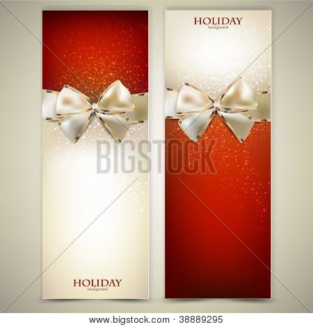 Elegante Grußkarten mit weißen Bögen und Textfreiraum. Vektor-illustration
