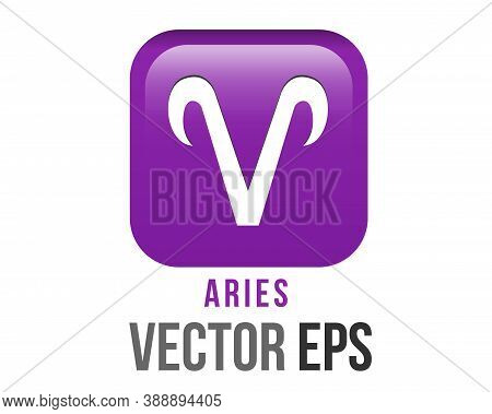 The Isolated Vector Gradient Purple Aries Astrological Sign Icon In The Zodiac,  Represents A Ram