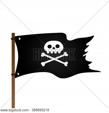 Jolly Roger Skull, Pirate Flag And Crossing Bones Flat Style Design Vector Illustration Isolated On