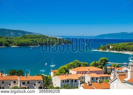 Panoramic View Of Blue Bay And Town Of Cres On The Island Of Cres In Croatia, Adriatic Seascape