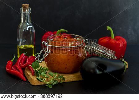 Traditional Autumn Balkan Vegan Spread Ajvar Or Aivar With Ingredients. Homemade Relish.