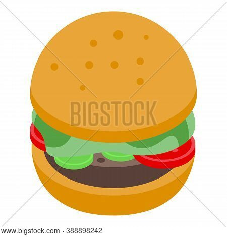 Streamer Burger Icon. Isometric Of Streamer Burger Vector Icon For Web Design Isolated On White Back