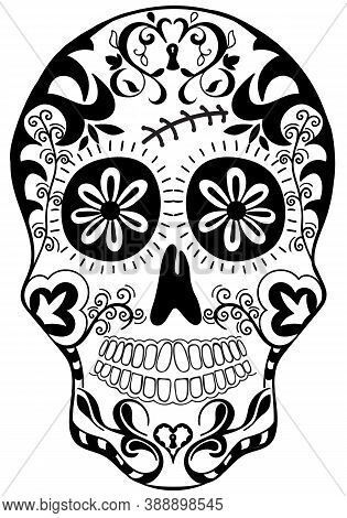 Mexican Holiday Day Of The Dead Celebration Festival And Halloween. Sugar Skull  For Poster, Card, P