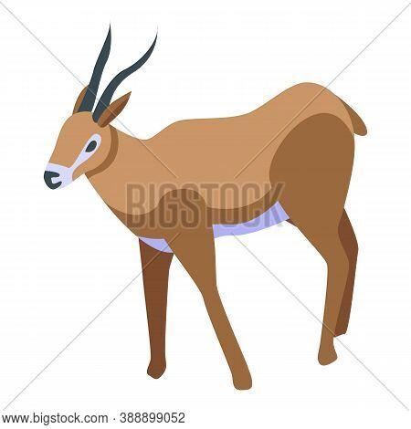 Wild Gazelle Icon. Isometric Of Wild Gazelle Vector Icon For Web Design Isolated On White Background