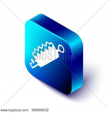 Isometric Trap Hunting Icon Isolated On White Background. Blue Square Button. Vector