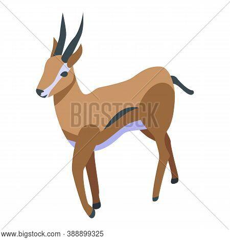 Exotic Gazelle Icon. Isometric Of Exotic Gazelle Vector Icon For Web Design Isolated On White Backgr