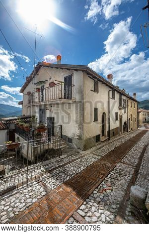 Ancient Medieval Italian Village With Houses Built With Stones. Petrella Salto In The Province Of Ri