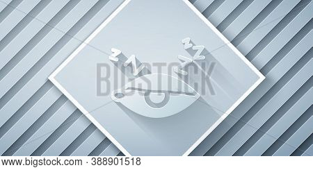 Paper Cut Insomnia Icon Isolated On Grey Background. Sleep Disorder With Capillaries And Pupils. Fat