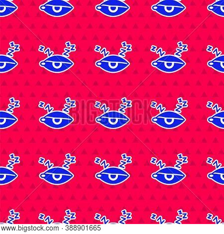 Blue Insomnia Icon Isolated Seamless Pattern On Red Background. Sleep Disorder With Capillaries And