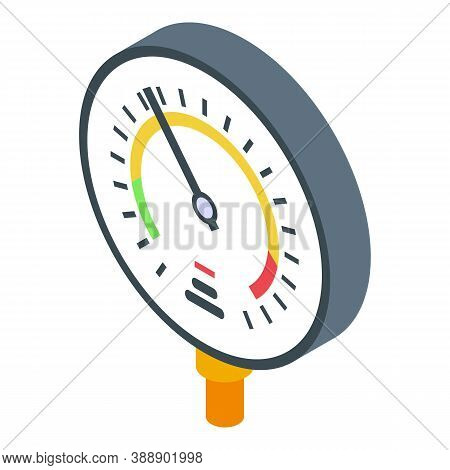 Industrial Manometer Icon. Isometric Of Industrial Manometer Vector Icon For Web Design Isolated On