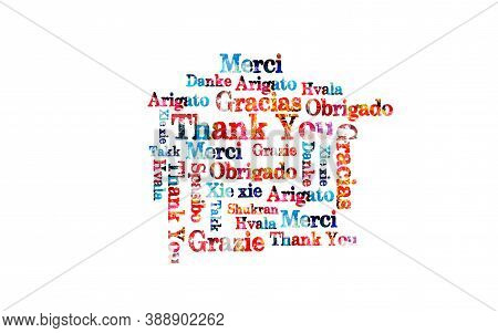 Thank You Appreciation Greeting Card In Different Languages Vector Illustration Design. Typographic