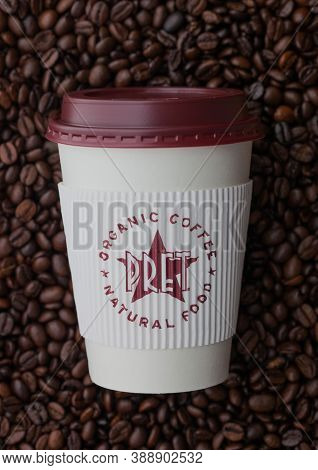 London, Uk - September 09, 2020: Paper Cup For Takeaway Of Pret A Manger Coffee On Top Of Fresh Raw