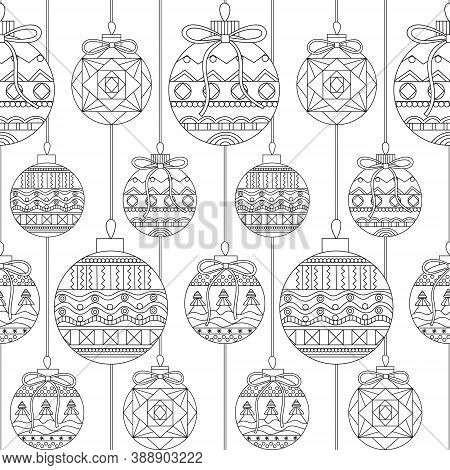 Pattern For Coloring Book. Christmas Hand-drawn Decorative Elements In Vector. Fancy Christmas Balls