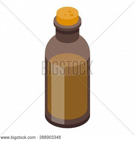 Rosemary Oil Bottle Icon. Isometric Of Rosemary Oil Bottle Vector Icon For Web Design Isolated On Wh