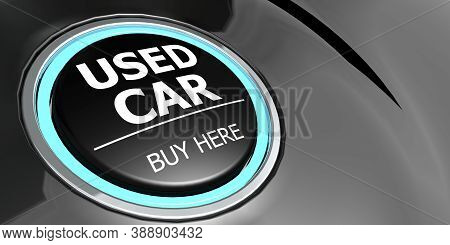 Used Car Buy Here Button On Black Background, 3d Rendering