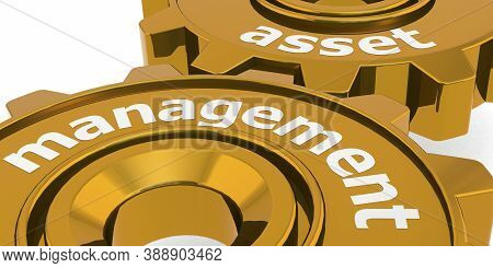 Asset Management Word On Golden Gears, 3d Rendering