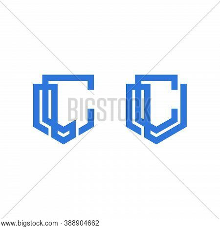 Logo Outline Of The Letters L And C Forming A Geometric Shield Shape
