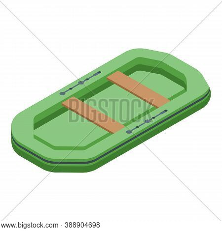 Rescuer Rubber Boat Icon. Isometric Of Rescuer Rubber Boat Vector Icon For Web Design Isolated On Wh