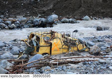 Breil-sur-roya, France - October 8, 2020: Breil-sur-roya French Village Was Submerged By The Floodin