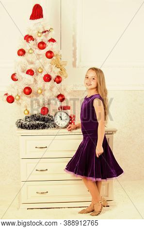 Kid Happy Because Holiday Season Arrive. Winter Holiday Concept. Family Holiday Concept. Girl Velvet