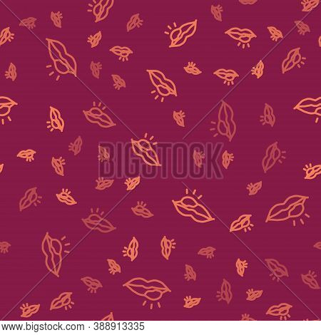 Brown Line Herpes Lip Icon Isolated Seamless Pattern On Red Background. Herpes Simplex Virus. Labial