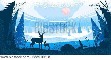 Winter Forest Landscape With Reindeer Silhouette, Pine Trees, Hills, Fox, Sky, Clouds. Christmas Hol