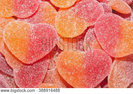 Marmalade In Heart Shape. Candies With Jelly And Sugar Lose Up