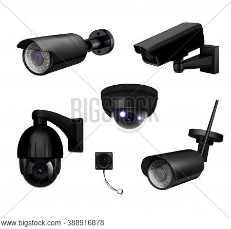 Black Video Surveillance Security Cameras Realistic And Isolated Icon Set With Different Types Of Ca