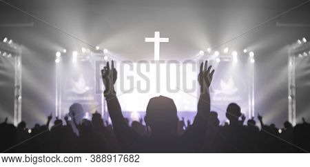 Church Worship Concept: Christian Worship With Raised Hand At The At The Cross Cross Background