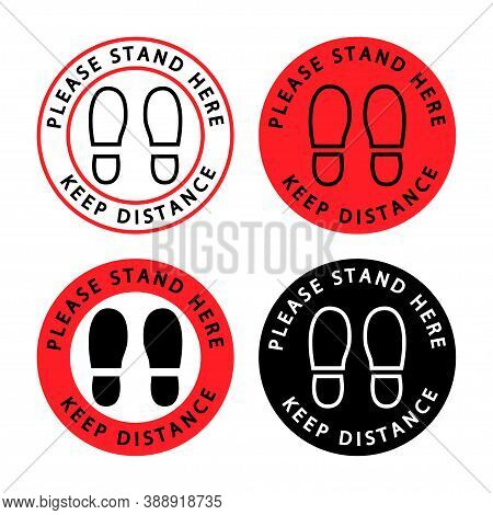 Please Stand Here. Keep Your Distance. Icons Of People's Feet With Keeping The Social Distance Conce