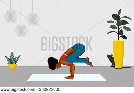 African American Women Standing In Adho Mukha Vrksasana Exercise. Next To Woman Walking Cat. Vector