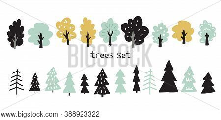 Illustration Set Of Different Trees Cute Spruce, Vector Drawing