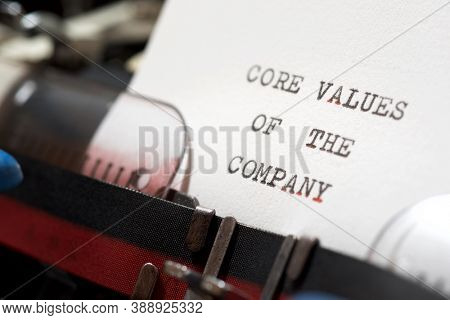 Core values of the company phrase written with a typewriter.