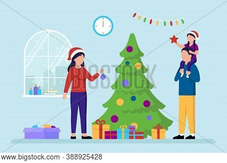 New Year Holiday Celebration Concept. Family Preparing For A New Year Celebration. Mother Decorating