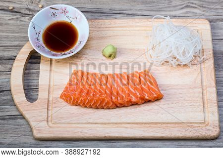 Salmon Fillet Sliced. Salmon Raw Sashimi. Japanese Cuisine. Delicious Fresh Slices Of Salmon Fish Fi